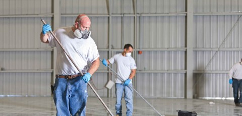 Epoxy flooring specialists at work