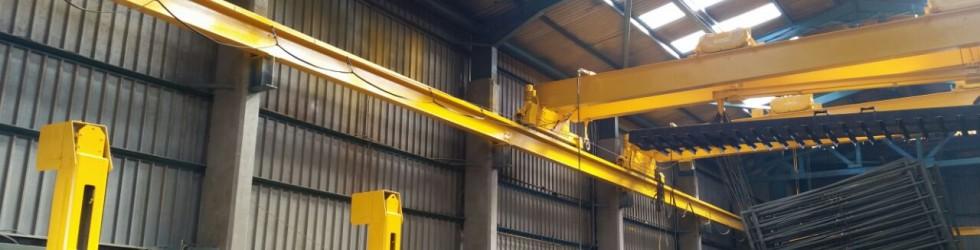 Yellow beams in warehouse