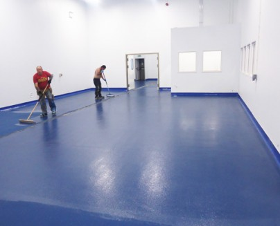 an image an epoxy floor being installed at Major International in Rushden