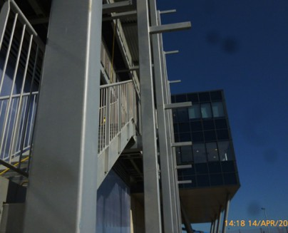 an image of an outdoor, steel staircase