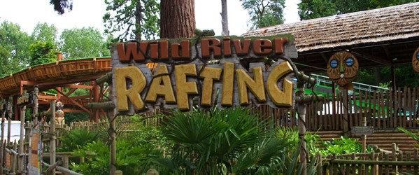 an image of the sign for the Wild River Rafting ride