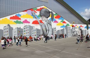 An image showing building art by artist Julien Malland