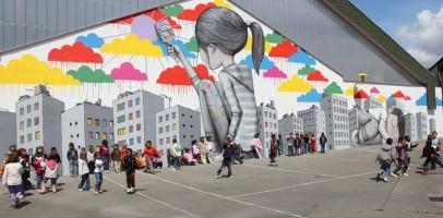 An image showing building art by artist Julien Malland