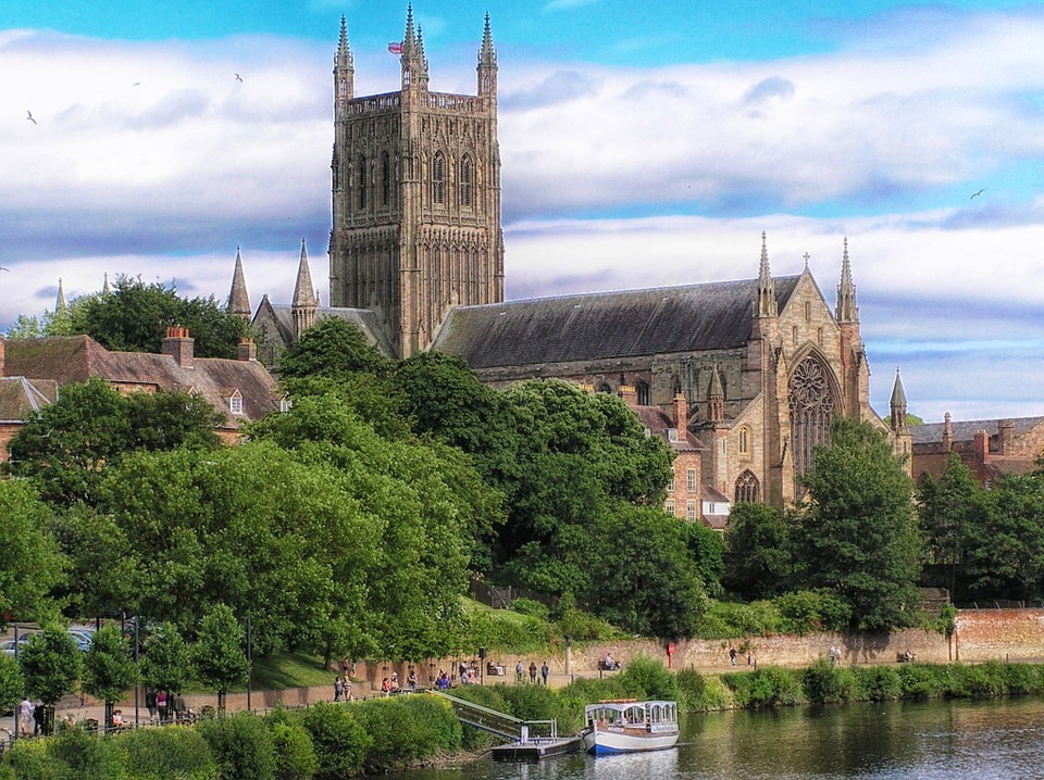 an image of Worcester Cathedral overlooking the River Severn